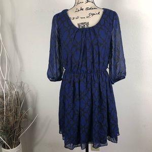 IZ BYER PATTERN BLUE AND BLACK 3/4 SLEEVES DRESS